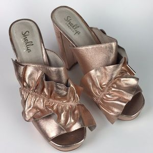 Shellys London Delphine Rose Gold Platform Mules
